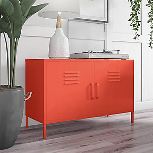 Novogratz Cache 2-Door Metal Locker Accent Cabinet, Orange, rollover
