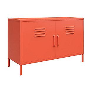 Novogratz Cache 2-Door Metal Locker Accent Cabinet, Orange, large