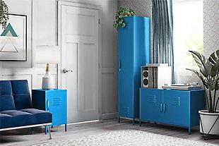 Novogratz Cache 2-Door Metal Locker Accent Cabinet, Blue, large