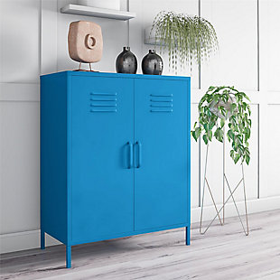 Novogratz Cache 2-Door Metal Locker Accent Cabinet, Blue, rollover
