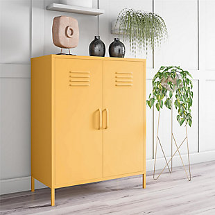 Novogratz Cache 2-Door Metal Locker Accent Cabinet, Yellow, rollover