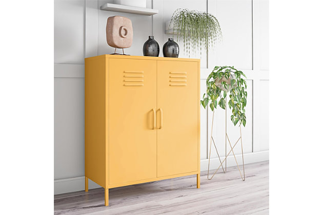 Novogratz Cache 2-Door Metal Locker Accent Cabinet, Yellow, large