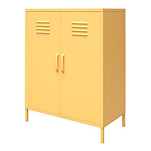 Novogratz Cache 2-Door Metal Locker Accent Cabinet, Yellow, large