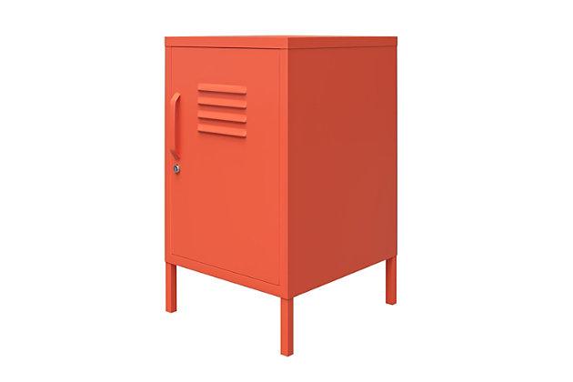 Novogratz Cache Metal Locker End Table, Orange, large