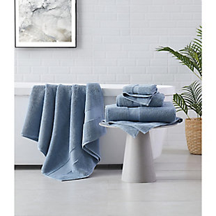 Brooklyn Loom Solid Turkish Cotton 6 Piece Towel Set in Blue, Blue, rollover