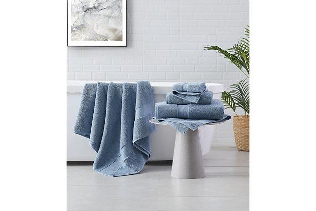 Brooklyn Loom Solid Turkish Cotton 6 Piece Towel Set in Blue, , large