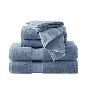 Brooklyn Loom Solid Turkish Cotton 6 Piece Towel Set in Blue, Blue, large