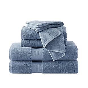Brooklyn Loom Solid Turkish Cotton 6 Piece Towel Set in Blue, Blue, large