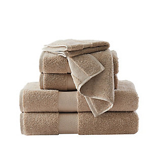 Brooklyn Loom Solid Turkish Cotton 6 Piece Towel Set in Khaki, Khaki, large