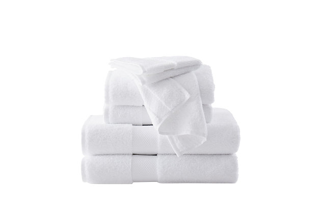 Brooklyn Loom Solid Turkish Cotton 6 Piece Towel Set in White, White, large