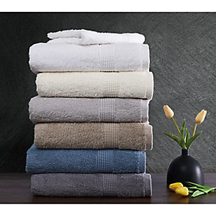 Truly Calm Antimicrobial 6 Piece Towel Set in Gray, Gray, large