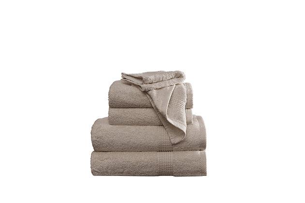 Truly Calm Antimicrobial 6 Piece Towel Set in Khaki, Khaki, large
