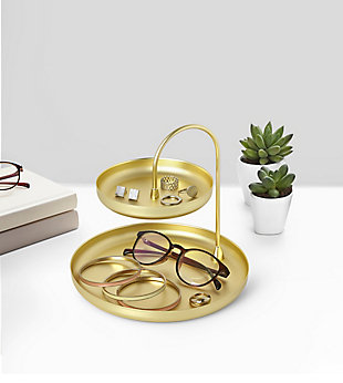 Umbra Poise Two-Tiered Brass Tray, , rollover