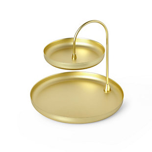 Umbra Poise Two-Tiered Brass Tray, , large