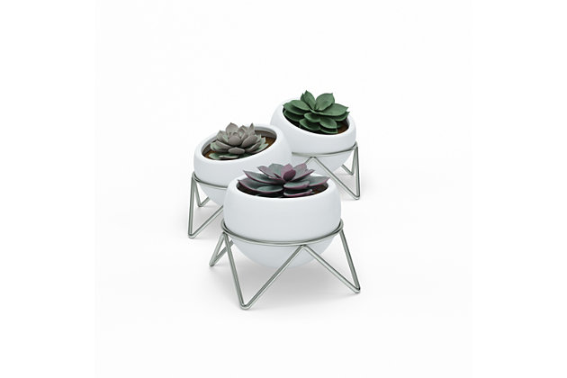 Umbra Potsy White and Silver Planters (Set of 3), , large