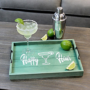 "Elegant Designs Decorative ""Happy Hour"" Wood Serving Tray, , rollover"
