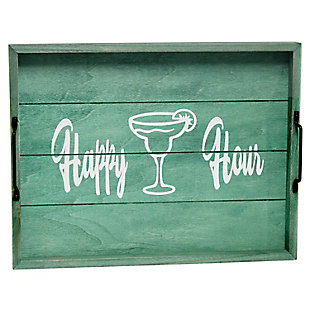 "Elegant Designs Decorative ""Happy Hour"" Wood Serving Tray, , large"
