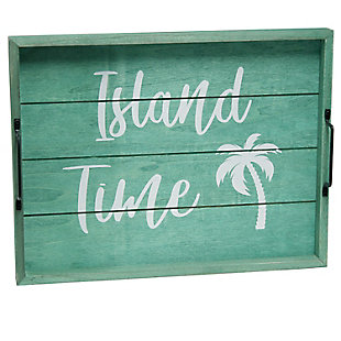 "Elegant Designs Decorative ""Island Time"" Wood Serving Tray, , large"
