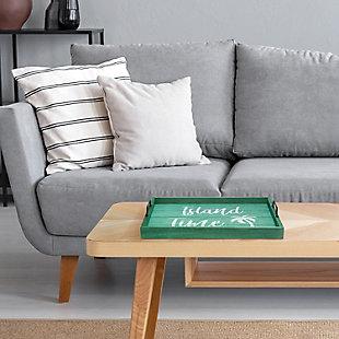 "Elegant Designs Decorative ""Happy Hour"" Wood Serving Tray, Aqua Wash, large"