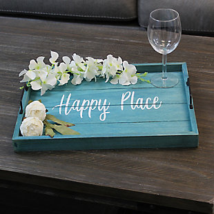 "Elegant Designs Decorative ""Happy Place"" Blue Wash Wood Serving Tray, , rollover"
