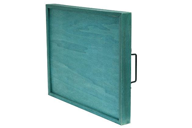 "Elegant Designs Decorative ""Home"" Blue Wash Wood Serving Tray, Blue Wash, large"