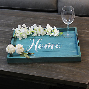 "Elegant Designs Decorative ""Home"" Blue Wash Wood Serving Tray, , rollover"