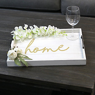 "Elegant Designs Decorative ""Home"" White Wash Wood Serving Tray, , rollover"