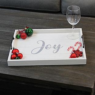 "Elegant Designs Decorative ""Joy"" Wood Serving Tray, , rollover"