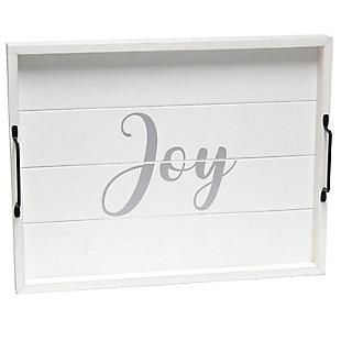 "Elegant Designs Decorative ""Joy"" Wood Serving Tray, , large"