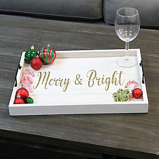 """Elegant Designs Decorative """"Merry and Bright"""" Wood Serving Tray, , rollover"""