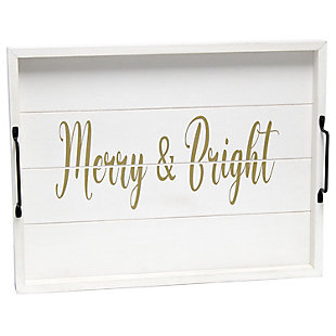"""Elegant Designs Decorative """"Merry and Bright"""" Wood Serving Tray, , large"""