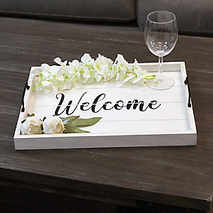 """Elegant Designs Decorative """"Welcome"""" Wood Serving Tray, , rollover"""