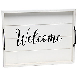 """Elegant Designs Decorative """"Welcome"""" Wood Serving Tray, , large"""