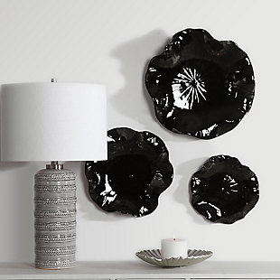 Uttermost Abella Black Ceramic Wall Decor, Set of 3, , rollover