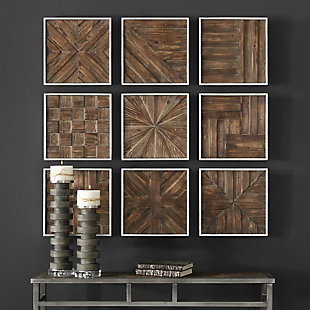 Uttermost Bryndle Rustic Wooden Squares Set of 9, , rollover