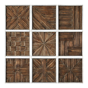 Uttermost Bryndle Rustic Wooden Squares Set of 9, , large