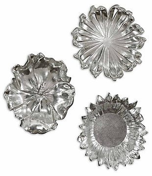 Uttermost Silver Flowers Wall Art, Set of 3, , large