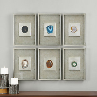 Uttermost Agate Stone Silver Wall Art Set of 6, , rollover