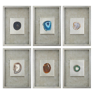 Uttermost Agate Stone Silver Wall Art Set of 6, , large