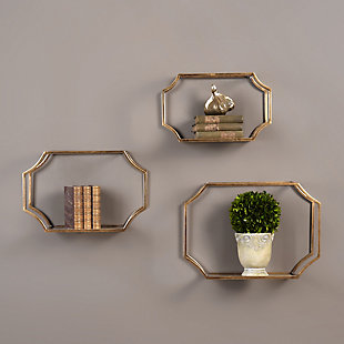Uttermost Lindee Gold Wall Shelves Set of 3, , rollover