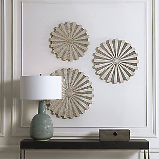 Uttermost Daisies Mirrored Circular Wall Decor, Set of 3, , rollover