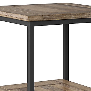 "Simpli Home Skyler 22"" Wide Solid Mango Wood Square Modern Industrial End Table, , large"