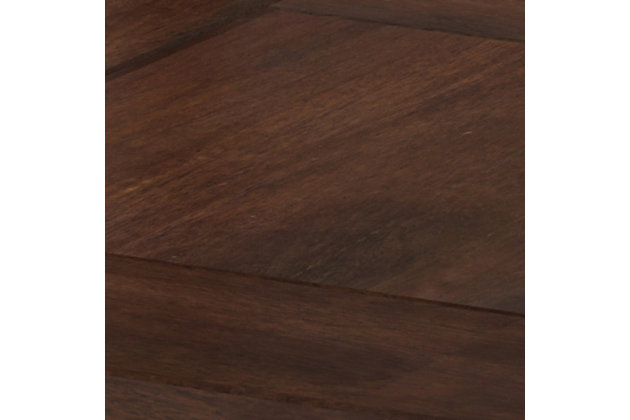 "Simpli Home Skyler 22"" Wide Solid Mango WoodSquare Modern Industrial End Table, Dark Brown/Gold, large"
