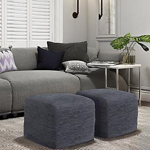 Simpli Home Fredrik Woven Leather Square Pouf, , rollover