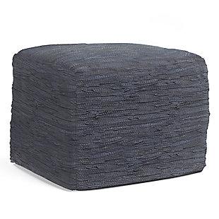 Simpli Home Fredrik Woven Leather Square Pouf, , large