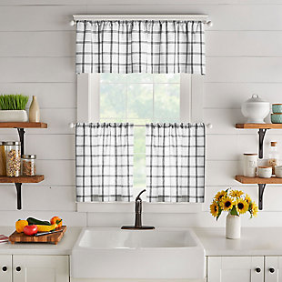 "Elrene Home Fashions Farmhouse Living Double Windowpane Plaid 60""x15"" Valance, White/Black, large"