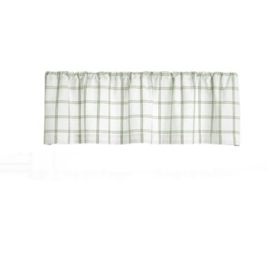 "Elrene Home Fashions Farmhouse Living Double Windowpane Plaid 60""x15"" Valance, White/Sage, large"