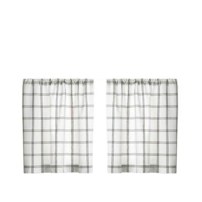 "Elrene Home Fashions Farmhouse Living Double Windowpane Plaid 30""x24"" Tier Set, White/Gray, large"