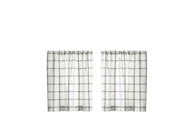 "Elrene Home Fashions Farmhouse Living Double Windowpane Plaid 30""x36"" Tier Set, White/Gray, large"
