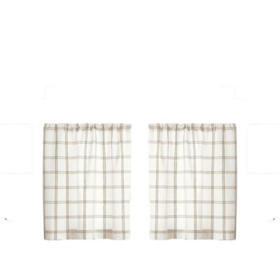 "Elrene Home Fashions Farmhouse Living Double Windowpane Plaid 30""x24"" Tier Set, White/Linen, large"